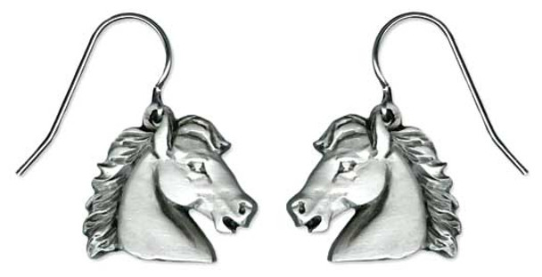 Horse Stallion Pewter Drop Earrings 6549EFP