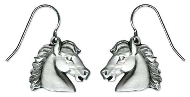 Horse Stallion Pewter Drop Earrings 6549EFP