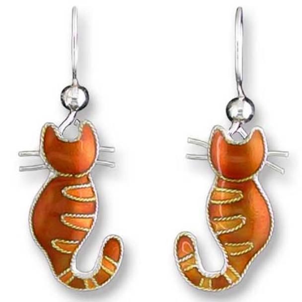 Kitty Cat Sterling Silver Drop Earrings 70-42-01