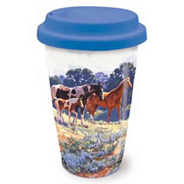 Ceramic Travel Mug April Breeze Horses 814-52
