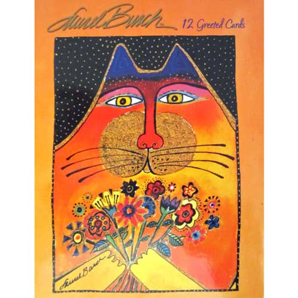 Laurel Burch Small Greeting Card Assortment - 12 cards - 4 Designs - Cats - ASN34632