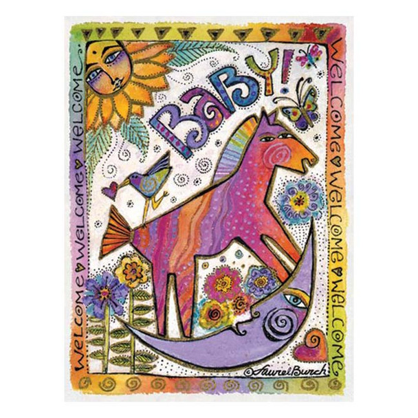 "Laurel Burch Card New Baby - ""Welcome Baby"" - BCG44854"