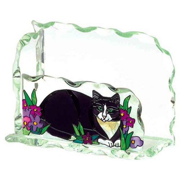 Cat Art Glass Business Card Holder - BCH1005