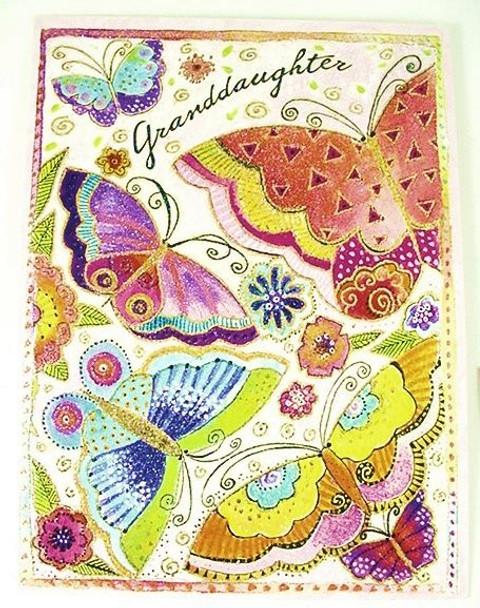 "Laurel Burch Card Granddaughter Birthday - ""Imagine"" Butterfly - BRG15844"