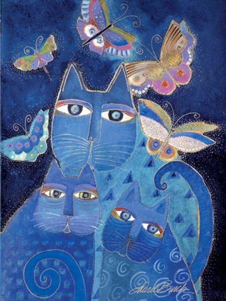 """Laurel Burch Card Warm Thoughts """"Blue Cats"""" - ECG13255"""