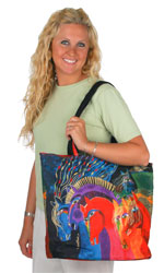 Laurel Burch Wild Horses of Fire Large Shoulder Tote