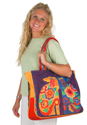 Laurel Burch Flowering Canines Oversized Tote