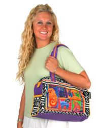 Laurel Burch Dog Tails Patchwork Medium Satchel