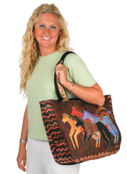 Laurel Burch Native Horses Shoulder Tote Bag