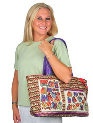 Laurel Burch Karly's Colorful Cats Fun Casual Shoulder Tote Bag