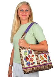 Laurel Burch Karly's Colorful Cats TearDrop Scoop Shoulder Tote Bag