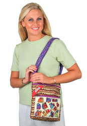 Laurel Burch Karlys Colorful ZigZag Cats Crossbody Tote Bag