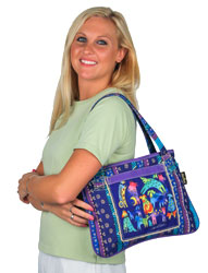 Laurel Burch Mythical Dogs Medium Blue Purple Tote Bag