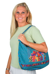 Laurel Burch Feline Clan Hobo Shoulder Tote
