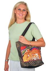 Laurel Burch Shambala Leopards Folklorica Shoulder Tote