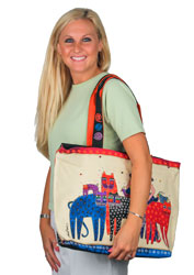 Laurel Burch Eta & Friends Oversized Shopper Shoulder Tote