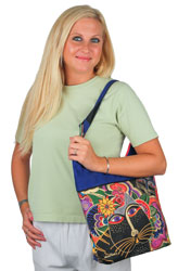 Laurel Burch Carlotta's Cats Scoop Shoulder Tote