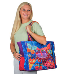 Laurel Burch Cats with Butterflies Oversized Shopper Travel Overnighter Tote