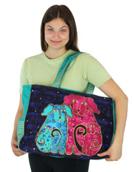 Laurel Burch Blossoming Pups Oversized Shopper Tote LB5560