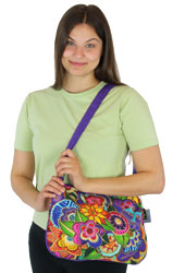 Laurel Burch Carlotta's Garden Med Crossbody Quilted Fabric Tote LB5573