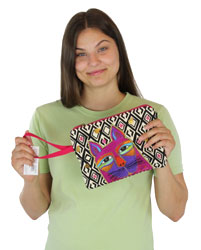 Laurel Burch Whiskered Cats Fuchsia Wristlet Case LB5632A