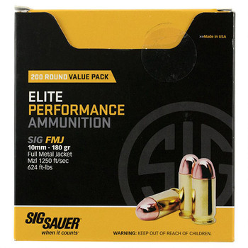 SIG Sauer Ammo 10Mm 180Gr Elit Ball FMJ 200Rdbox