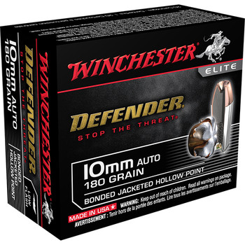 Winchester Ammo X10MMMPDB Defender Elite  10mm 180 GR Bonded Jacket Hollow Point 20 Bx/ 10 Cs