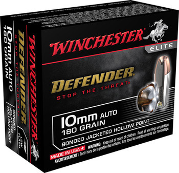 WINCHESTER AMMO DEFENDER 10MM AUTO 180GR. BONDED JHP 20-PACK