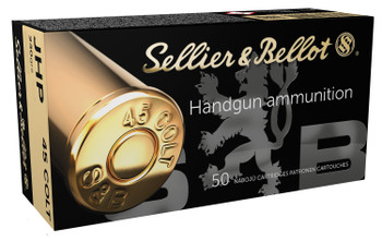 Sellier & Bellot SB45F Handgun   45 Colt (LC) 230 GR Jacketed Hollow Point 50 Bx/ 12 Cs