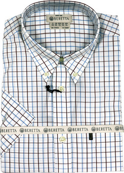 Beretta Men's Drip DRY Short Sleeve White Check ME