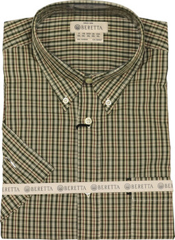 Beretta Men's Drip DRY Short Sleeve Green Check LA