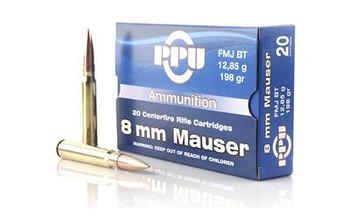 PPU 8MM Mauser FMJ 198 Grain Weight 20/Box