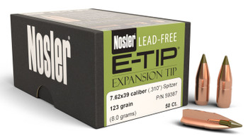 Nosler 59387 E-Tip Lead Free 7.62X39 123 GR Spitzer Boat Tail 50 Box