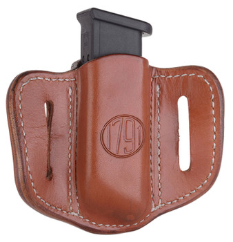 1791 GUNLEATHER MAG12CBRA MAG1.2  Single Mag for Double Stack Steerhide Classic Brown