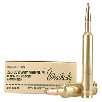 WBY Ammo 30-378 200 Grain Weight Nosler 20/Box