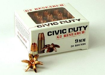 G2 Research Civic Duty 9MM 100Gr. R.I.P. Ammo - BO