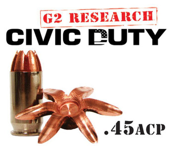 G2 Research Civic Duty 45 ACP Ammo - BOX OF 20 ROU