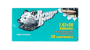 Brown Bear 7.62X39 Subsonic Ammunition BOX 20 Roun