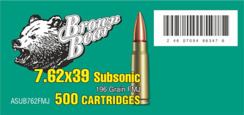 Brown Bear 7.62X39 Subsonic Ammunition 500Rd Case