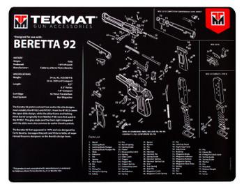 "BECK TEK, LLC (TEKMAT) R20BER92 Beretta 92 Ultra Premium Cleaning Mat Beretta 92 Parts Diagram 20"" x 15"" Black/White"