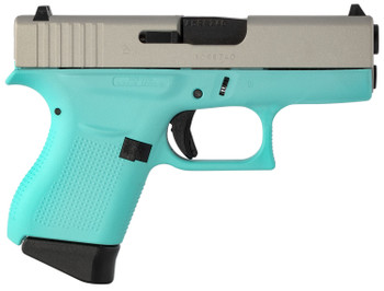 "Glock UI4350201RES G43 Subcompact  9mm Luger Double 3.39"" 6+1 Robin Egg Blue Polymer Grip/Frame Grip Gray Slide"