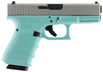 "Glock PG1950203RES G19 Gen 4 Double 9mm Luger 4.01"" 15+1 Robin Egg Blue Interchangeable Backstrap Grip Silver Aluminum Alloy"