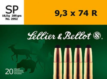 Sellier & Bellot SB9374RA Rifle  9.3mmX74R 285 GR Soft Point (SP) 20 Bx/ 18 Cs