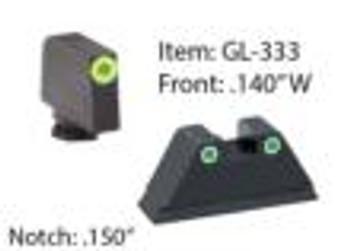 Amerigo Custom Combination Tall Suppressor Height Set - All Glock Models Except 42 43 / Front Tritium - Green / Front Outline - LumiGreen / Rear Tritium - Green / Rear Outline - White