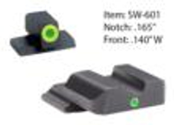 Ameriglo Tritium i-Dot Night Sight Set for Select S&W M&P Full or Compact / Front Tritium - Green / Front Outline - LumiGreen / Rear - Green Round Notch
