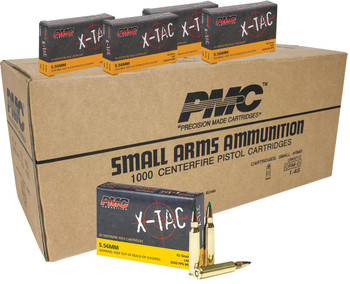 PMC X-Tac Rifle Ammunition 5.56 NATO 62 gr Green Tip 1000/ct