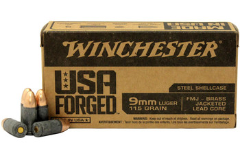 USA FORGED 9MM 115GR STEEL CASE FMJ BRASS-JACKETED LEAD CORE 1000 RD