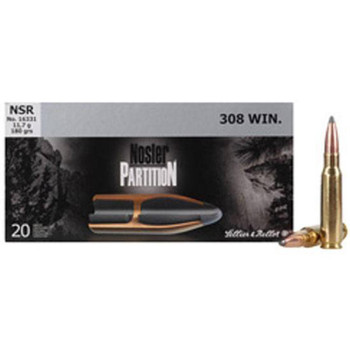 Sellier & Bellot Nosler Partition Rifle Ammunition .308 Win 180 gr PT 20/Box