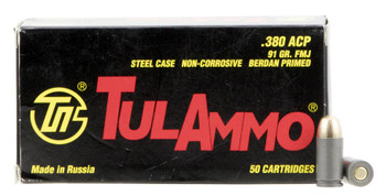 Tula 380Acp 91 Grain Weight FMJ 50/1000 TA380910