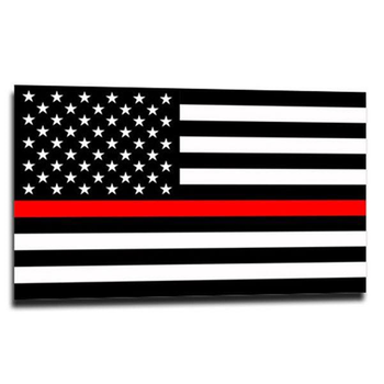 Thin Blue Line Thin Red Line American Flag Sticker, 2.5 x 4.5 Inches